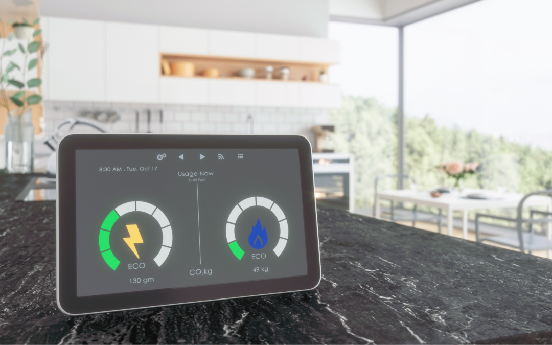 Home Energy Smart meter in the kitchen measuring temperature